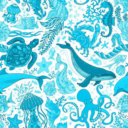 Vector blue underwater sea life boundless background. Whale, dolphin, turtle, fish, starfish, crab, octopus, shell, jellyfish, seahorse, seaweed. Seamless pattern of animals and plants.