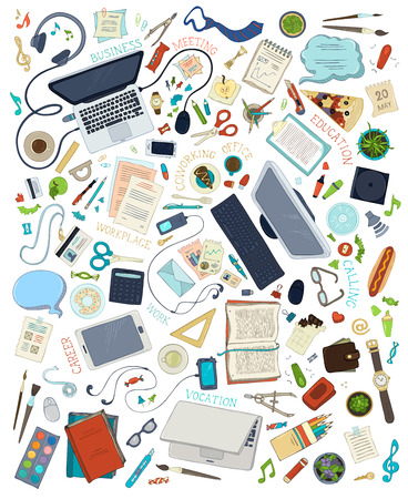 Top view of work places. Gadgets and stationery supplies set. Computer, monitor, laptop, book, pen, pencil, notebook, paper, business card, scissors, marker. Vector objects isolated on white background.