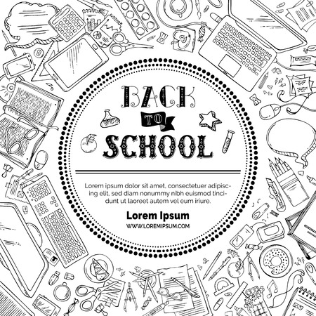 Vector back to school template. Hand lettering and doodle outlined design elements and symbols on white background. Hand-drawn black stationery supplies. Pens, pencils, markers, books. Top view.