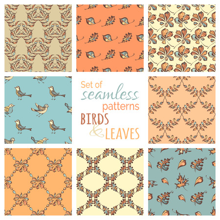 boundless: Vector set of seamless nature patterns. Hand-drawn pastel birds and leaves on coloured backgrounds. Oak, maple, birch, rowan, chestnut leaves. Pastel boundless backgrounds. Illustration