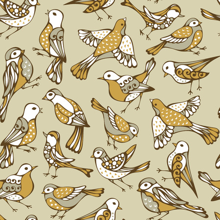 boundless: Vector seamless birds pattern. Hand-drawn animals on light background. Yellow nature boundless background.