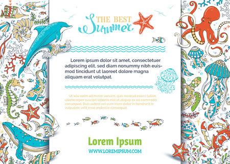 algae cartoon: Summer cartoon sea life background. Dolphin, turtle, fish, starfish, crab, shell, jellyfish, seahorse, algae, octopus, waves. Underwater wild animals and plants. There is place for text on white.