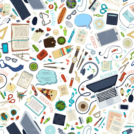 laptop mobile: Seamless pattern of gadgets and office supplies. Hand-drawn gadgets and office supplies on white background. 70+ items. Top view. Work and education. Stationery, food and drinks, laptop, mobile, pizza.
