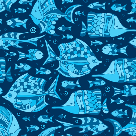 underwater fishes: Vector seamless blue underwater sea pattern. Various sea fishes on dark blue background. Boundless background can be used for web page backgrounds, wallpapers, wrapping papers and invitations.