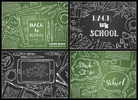back view student: Vector set of chalk Back to School backgrounds. Education workplaces. Chalk doodle gadgets and school stationery supplies on blackboard backgrounds. Laptop, tablet, book, pen and pencil. Top view.
