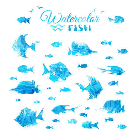 underwater fishes: Vector set of watercolor fish silhouettes. Bright sea fishes isolated on white background. Underwater blue ocean life.