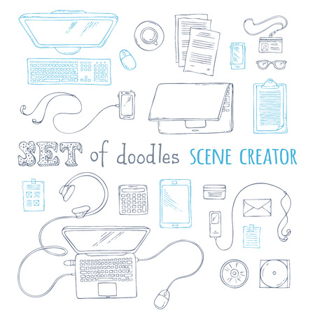 office supplies: Set of doodles scene creator design elements. Hand-drawn doodles gadgets and office supplies. 20+ items. Top view. Design elements for work and education. Laptop, computer, documents, mobile, notes.