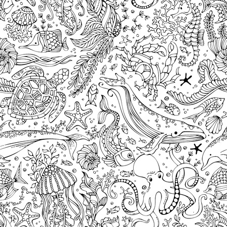 Vector seamless pattern of underwater wild animals and plants. Doodles linear illustration. Whale, dolphin, turtle, fish, crab, shell, octopus, jellyfish, seahorse, algae. Sealife boundless background.