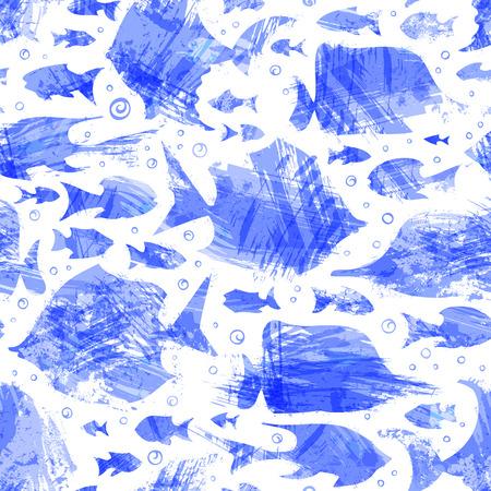 Vector violet waterverf naadloos vispatroon. Verschillende lichte zeevis op witte achtergrond. Boundless achtergrond kan worden gebruikt voor achtergronden van webpagina's, wallpapers, verpakkingspapieren en uitnodigingen.