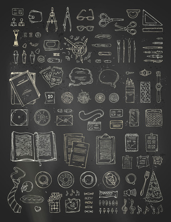 note pc: Vector chalk scene creator set on blackboard background. Doodles chalk gadgets and stationery supplies, food and plants. Top view. Design elements for work and education.