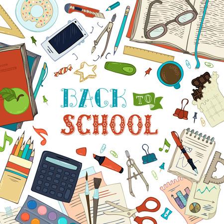 Retour à fond l'école. papeterie et matières scolaires griffonnage sur fond blanc. Livres, crayons de couleur, des pinceaux, une boussole, des clips, des ciseaux et autres. Vector illustration.