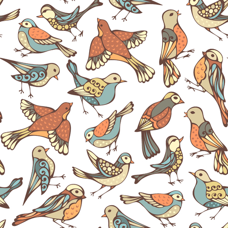 boundless: Vector seamless pattern of various birds. Hand-drawn animals on white background. Pastel boundless background.