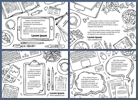 Vector set of office workplace backgrounds. Doodles contours of gadgets and office stationery supplies on white background. Top view. Work and education. There is copyspace for your text.