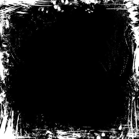Vector grunge chalk frame on blackboard background. Square frame of hand-drawn chalk white stains, flourishes and blots on blackboard background. There is place for your text on black background. Ilustração