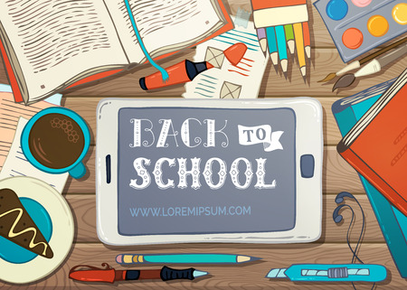 there: Back to School Card. School supplies, stationery and gadgets on wooden desk. Pen and marker, coffee, colored pencils and paint. There is copyspace for your text on tablet screen. Vector illustration.