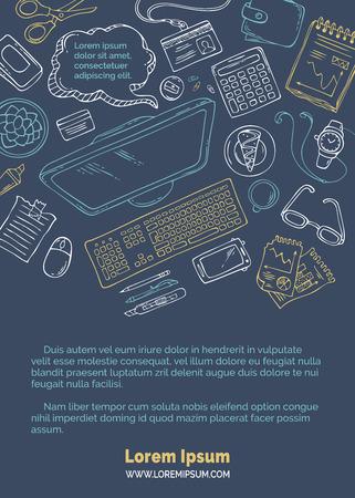 Vector doodles werkplek achtergrond. Hand getekende kleurrijke contouren van gadgets en kantoorbenodigdheden op donkere achtergrond. Computer en documenten. Bovenaanzicht. Doodles ontwerpelementen voor werk en onderwijs.