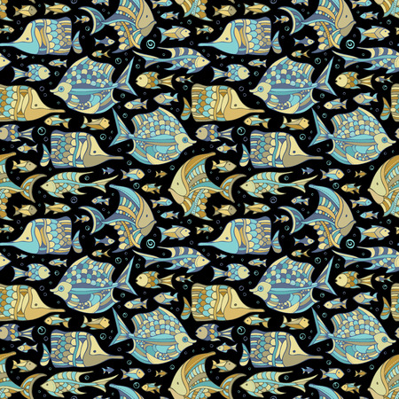 fauna: Vector seamless ocean fish pattern. Various fishes on black background. Boundless background can be used for web page backgrounds, wallpapers, wrapping papers and invitations. Illustration