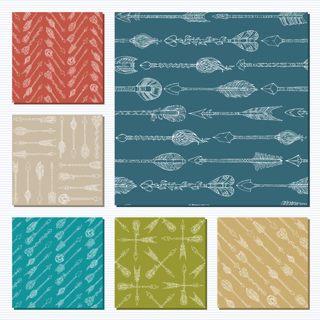 duotone: Set of seamless patterns of arrows. Sketch native ethnic arrows. Boho and hippie style illustration. Tribal duotone boundless backgrounds. Illustration