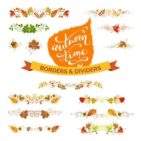 fall leaves border: Vector set of autumn leaves design elements. Nature borders, page decorations and dividers isolated on white background. Hand-written lettering. Oak, rowan, maple, chestnut and aspen leaves.