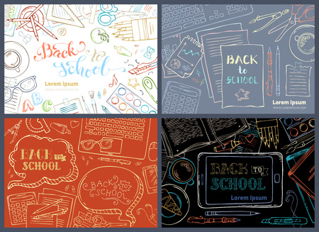 school work: Back to school backgrounds. Education workplaces. Outlined gadgets and school stationery supplies on colored backgrounds. Laptop, tablet, book, pen and pencil. Top view. Work and education.