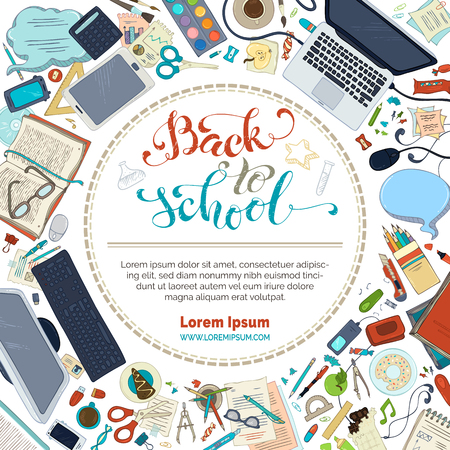 text books: Back to school frame. School supplies, stationery and gadgets on white background. Books, pens and pencils, laptop, scissors. There is copyspace for your text in the center. Vector illustration.