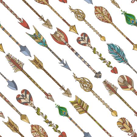 Seamless ethnic arrows pattern. Set of hand-drawn diagonal tribal arrows on white background. Boho style illustration. Decorative boundless background.