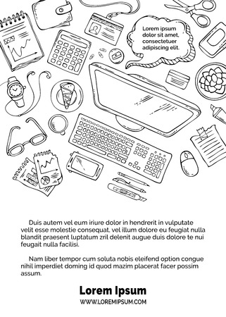 study table: Hand-drawn contours of gadgets and office supplies on white background. Top view. Doodles design elements for work and education. Stationery and gadgets, paper.