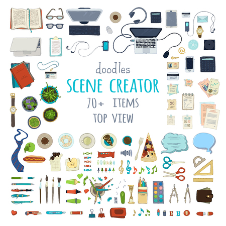 Scene Creator. Hand-drawn gadgets and office supplies isolated on white background. 70+ items. Top view. Design elements for work and education. Stationery and gadgets, food and plants.
