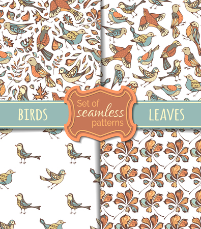 boundless: Seamless nature pattern. Hand-drawn birds and leaves on white background. Oak, maple, birch, rowan, chestnut leaves. Pastel boundless backgrounds.