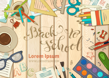 note book: Back to school background. Education elements on wood background. Cartoon school supplies, colored pencils and paper, brush and paint, scissors and clips. Vector illustration.