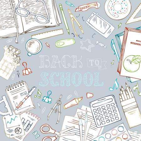 Terug naar school achtergrond. Doodle onderwijsbenodigdheden en basistoebehoren. Er is copyspace voor uw tekst in het midden. Hand-belettering, boek, schaar, pen en potlood.