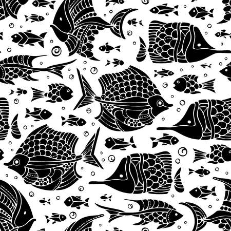 boundless: Seamless fish pattern. Various black fish silhouettes on white background. Vector boundless background. Illustration