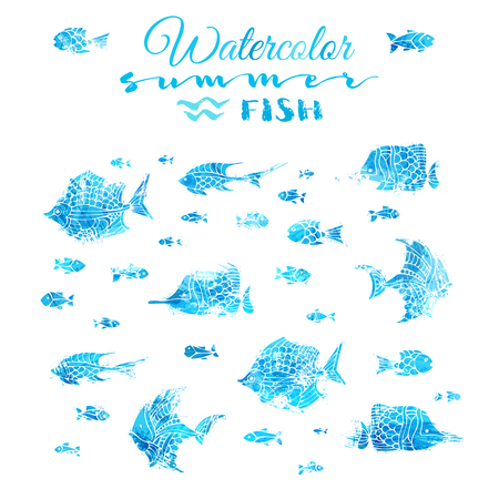 rough sea: Bright watercolor fish silhouettes with white contours isolated on white background. Underwater blue sea life. Illustration