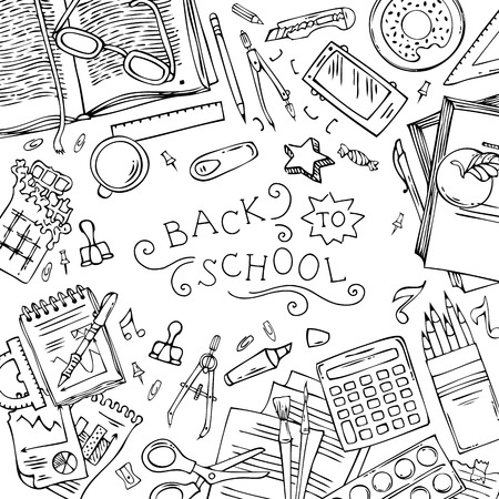 back to work: Back to school background. Hand-drawn linear gadgets and school stationery on white background. Top view. Doodles design elements for work and education. Copyspace for your text. Vector.