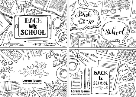back view student: Back to school backgrounds. Education workplaces. Outlined gadgets and school stationery supplies on white backgrounds. Laptop, tablet, book, pen and pencil. Top view. Work and education.