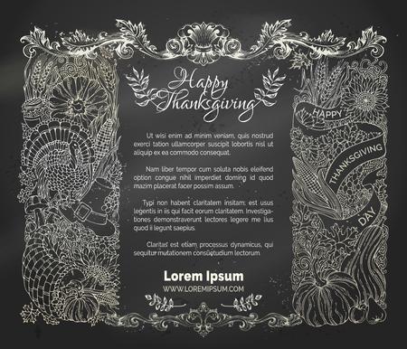 corn flower: Chalk Thanksgiving frame. Vector traditional festive symbols and food. Turkey, cornucopia, pumpkin, corn, wheat, autumn leaves and others. Hand-drawn design elements on blackboard background.