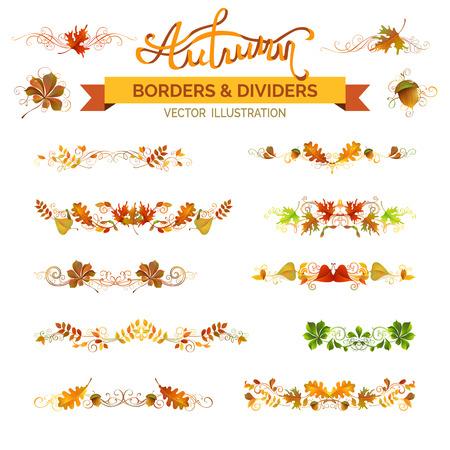 Conjunto de hojas de otoño fronteras, decoraciones de página y separadores. elementos de diseño de la naturaleza del vector aislados sobre fondo blanco. Roble, arce, el serbal, castaños, hojas de olmo y bellota. Remolinos y prospera.