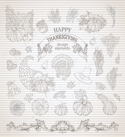 wheat harvest: Vector set of vintage Thanksgiving design elements. Traditional harvest symbols. Turkey, horn of plenty, pilgrims hat, pumpkin, corn, wheat, sunflower, hazelnut, walnut, autumn leaves and others. Illustration