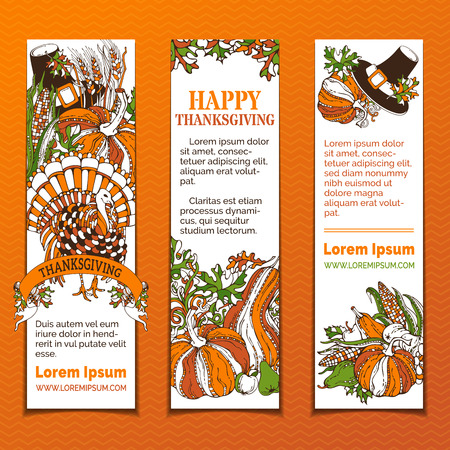 green wheat: Vector set of bright Thanksgiving vertical banners. Pilgrims hat, turkey, pumpkin, wheat, apple and pear, corn, autumn leaves and others. Orange, green and white colours. Illustration