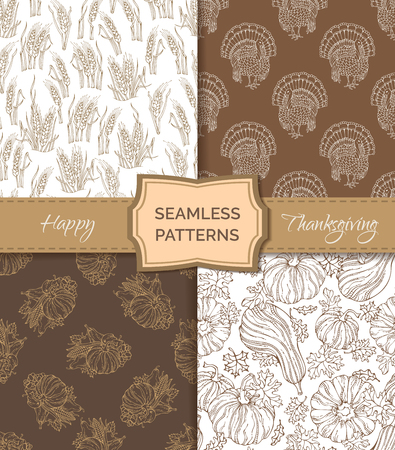 plenty: Vector set of sepia seamless Thanksgiving patterns. Pumpkin, turkey, wheat, corn, leaf, apple and pear, plenty of fruits and vegetables. Boundless hand-drawn sketch harvest backgrounds.
