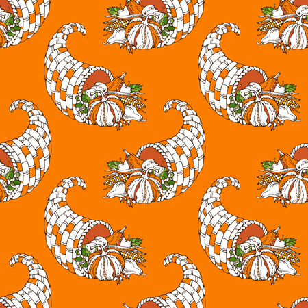 horn of plenty: Vector seamless Thanksgiving pattern. Horn of plenty, pumpkin, autumn leaf, corn, grape, apple and pear. Bright orange boundless background for your design. Harvest time. Illustration
