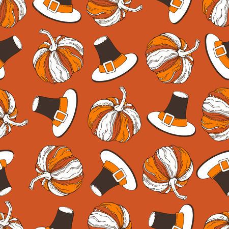 boundless: Vector seamless Thanksgiving pattern. Pumpkin and pilgrims hat on orange background. Boundless background for your festive autumn design. Harvest time.