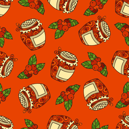 boundless: Vector seamless red berry pattern. Cranberry and jam-jar. Thanksgiving day. Bright boundless background for your design. Harvest time. Illustration