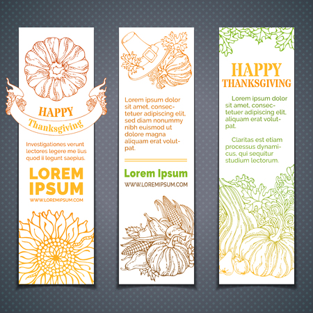 thanks giving: Vector set of doodles colourful Thanksgiving banners. Pilgrims hat, pumpkin, corn, wheat, sunflower, apple, pear, acorn, ribbon, autumn leaves. Copy space for your text. Hand-drawn outlined elements.