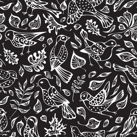 boundless: Vector seamless pattern of birds and leaves. Hand-drawn chalk nature boundless blackboard background. Oak, maple, birch, rowan, chestnut leaves.