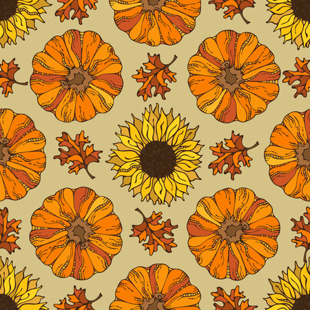 Vector seamless harvest pattern. Pumpkin, sunflower and autumn leaf. Thanksgiving day. Boundless background for your autumn design. Fall time.