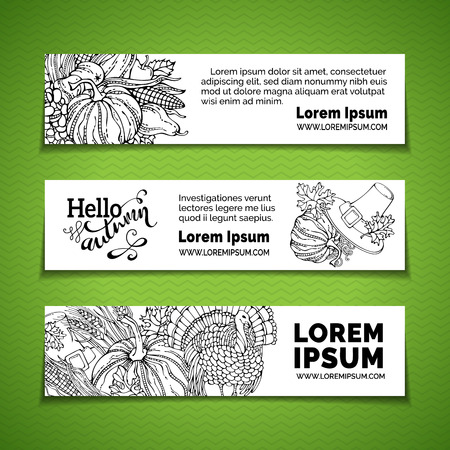 wheat harvest: Vector doodles Thanksgiving horizontal banners set. Pumpkin, turkey, pilgrims hat, wheat, corn, sunflower, grape, apple and pear, autumn leaves. Traditional black and white harvest autumn symbols.