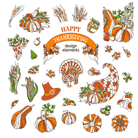horn of plenty: Vector set of Thanksgiving design elements. Traditional festive symbols isolated on white background. Turkey, horn of plenty, pilgrims hat, pumpkin, corn, wheat, sunflower, autumn leaves and others. Illustration