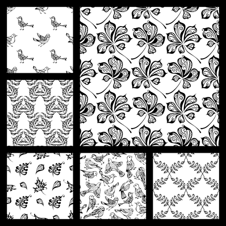 boundless: Vector set of seamless nature patterns. Hand-drawn black linear birds and leaves on white background. Oak, maple, birch, rowan, chestnut leaves. Duotone boundless backgrounds.