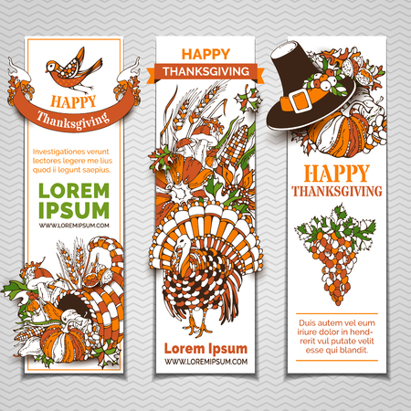 horn of plenty: Vector set of Thanksgiving banners. Pilgrims hat, turkey, horn of plenty, pumpkin, corn, wheat, sunflower, walnut, grape, apple, pear, cranberry, mushroom, bird, acorn, autumn leaves and others.